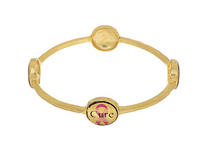 Goldtone Pink Ribbon Bangle Bracelet