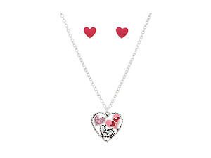 Silvertone Heart Necklace Set With Pink Rhinestones