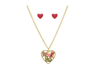 Goldtone Heart Necklace Set With Pink Rhinestones