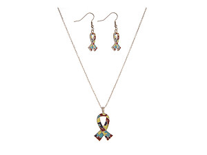 Silvertone Autism Awareness Ribbon Pendant & Earring Set