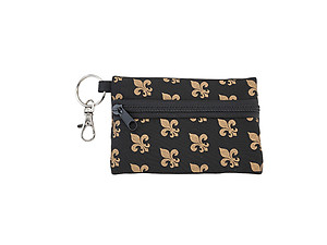 Neoprene Zippered Student ID Case with Key Ring (Fleur De Lis)