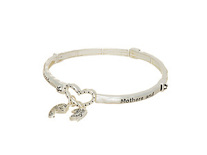 Silvertone Mothers and Daughters Stretch Bracelet