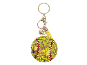 Softball Tassel Bling Faux Suede Stuffed Pillow Key Chain Handbag Charm