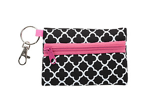 Neoprene Zippered Student ID Case with Key Ring (Clover Pink)