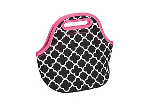 Insulated Neoprene Reusable Lunch Bag (Clover Pink)