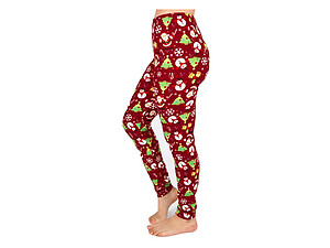 Christmas Print Peach Skin Women's Full Length Patterned Fashion Leggings ~ Style 590D