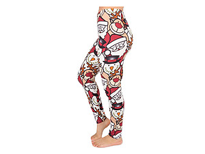 Christmas Print Peach Skin Women's Full Length Patterned Fashion Leggings ~ Style 592D
