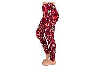 Christmas Print Peach Skin Women's Full Length Patterned Fashion Leggings ~ Style 599D