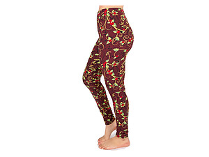 Christmas Print Peach Skin Women's Full Length Patterned Fashion Leggings ~ Style 600D
