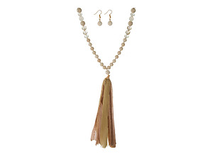 Ivory Colored Beaded Necklace Set w/ Tan Tassel