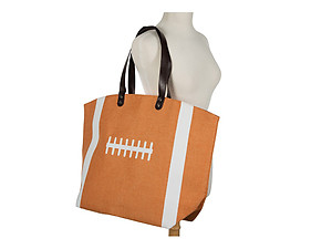 Sports Themed Canvas Tote Bag w/ Snap Closure