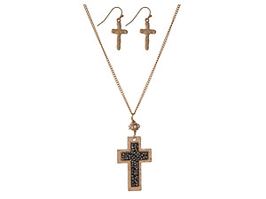 Hematite Cross Pendant Necklace Set in Goldtone