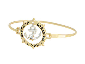 Dangling Anchor Have Faith Dream Big Hope Goldtone Bangle Bracelet