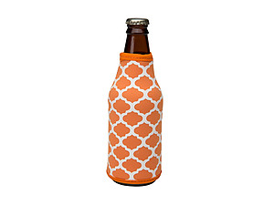 White and Orange Insulated Neoprene Bottle Koozie