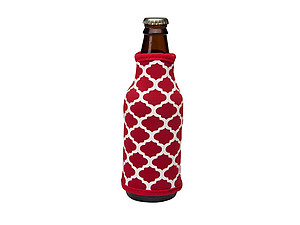 Crimson and White Insulated Neoprene Bottle Koozie