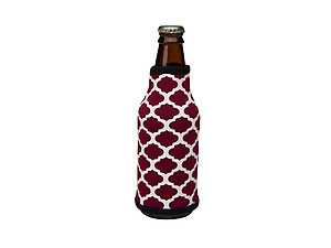 Maroon and Black Insulated Neoprene Bottle Koozie