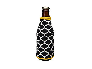 Black and Yellow Insulated Neoprene Bottle Koozie