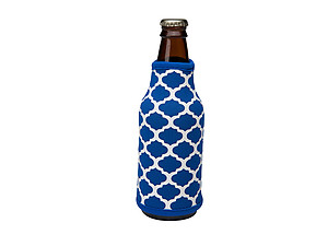 Royal Blue and White Insulated Neoprene Bottle Koozie