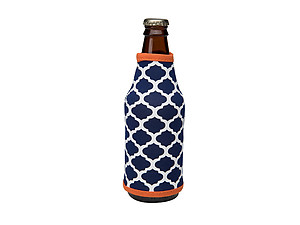 Navy Blue and Orange Insulated Neoprene Bottle Koozie