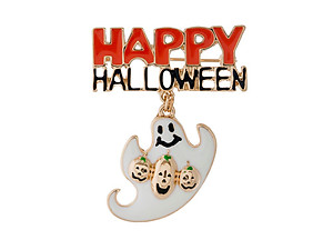 Goldtone White Ghost Happy Halloween Pin & Brooch
