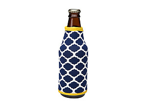 Navy Blue and Yellow Insulated Neoprene Bottle Koozie