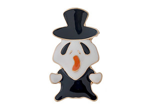 Goldtone Black & White Ghost Halloween Pin & Brooch