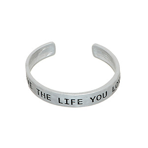 Silvertone Live The Life You Love Hammered Metal Cuff Bracelet