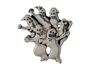Burnished Silvertone Multi Ghost Halloween Pin & Brooch