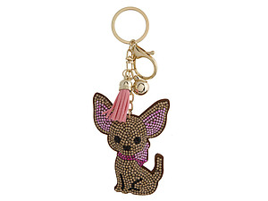 Chihuahua Faux Suede Tassel Stuffed Pillow Key Chain Handbag Charm