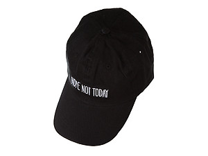 Black Nope, Not Today Embroidered Adjustable Back Hat Cap