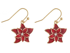 Poinsettia Fish Hook Holiday Earrings