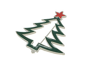 Enamel Decorated Christmas Tree Pin Brooch
