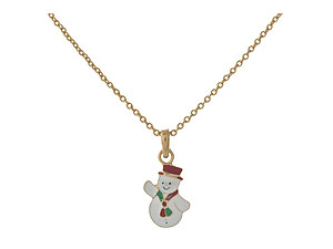 Dainty Goldtone Christmas Themed Pendant Necklace