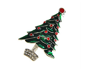 Silvertone Christmas Tree Pin Brooch