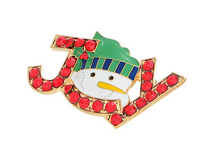 Snowman Joy Accented Holiday Pin Brooch