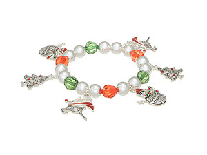 Christmas Themed Charms Accented Stretch Bracelet