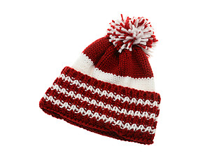 Crimson and White Pom Pom Accent Team Color Toboggan Beanie Hat