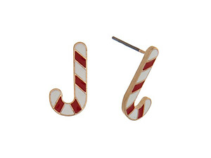 Candy Canes Goldtone Christmas Stud Earring Set