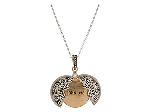 John 3:16 Two Tone Blessing Opening Locket Pendant Long Necklace