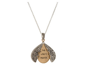 Lord's Prayer Two Tone Blessing Opening Locket Pendant Long Necklace