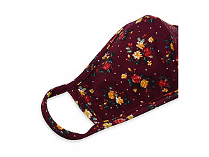 Burgundy Reusable Floral Print T-Shirt Cloth Face Mask with Seam