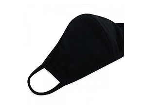 Black Reusable Solid Color T-Shirt Cloth Face Mask with Seam