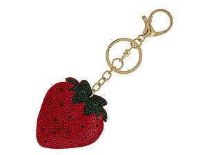 Strawberry Bling Faux Suede Stuffed Pillow Key Chain Handbag Charm