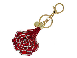 Red Rose Faux Suede Tassel Stuffed Pillow Key Chain Handbag Charm