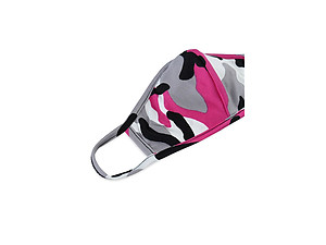 Fuchsia Reusable Camouflage T-Shirt Cloth Face Mask with Seam