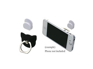 Jet Black Cat Head Premium Universal Smartphone Mount Ring Hook