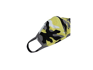 Yellow Reusable Camouflage T-Shirt Cloth Face Mask with Seam