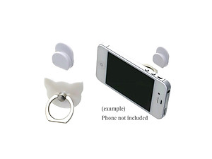White Cat Head Premium Universal Smartphone Mount Ring Hook