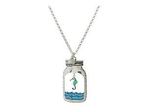 Beach Theme Mason Jar Shaped Pendant Long Necklace