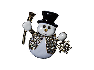 Crystal Stone Paved Christmas Snowman Pin & Brooch